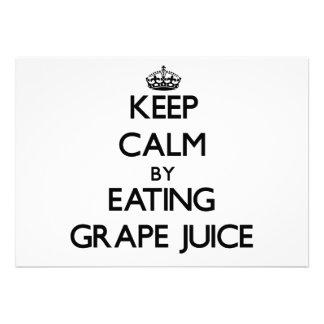 Keep calm by eating Grape Juice Custom Announcements
