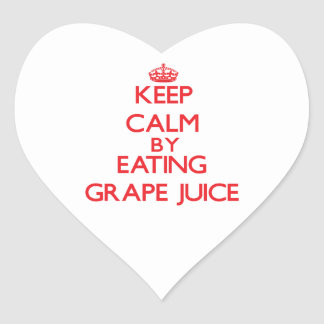 Keep calm by eating Grape Juice Heart Sticker