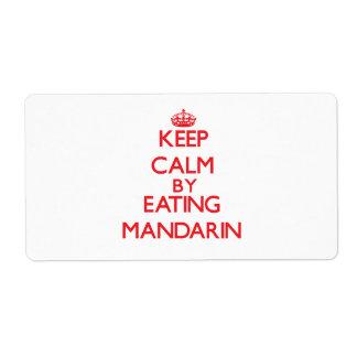 Keep calm by eating Mandarin Shipping Label