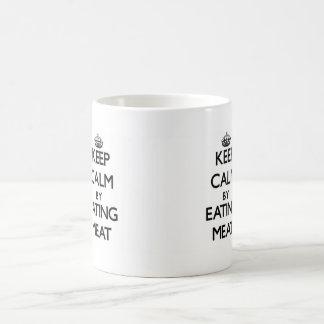 Keep calm by eating Meat Classic White Coffee Mug
