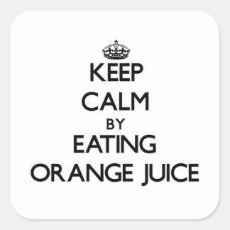 Keep calm by eating Orange Juice Sticker