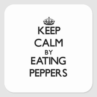 Keep calm by eating Peppers Stickers
