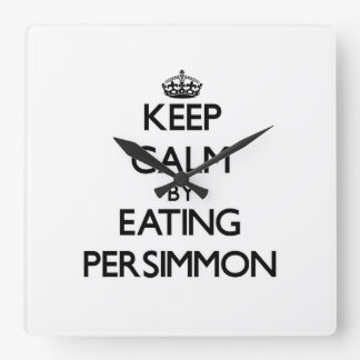 Keep calm by eating Persimmon Wallclocks