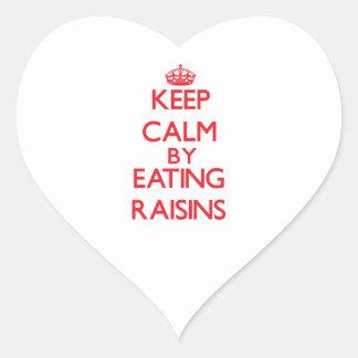 Keep calm by eating Raisins Heart Sticker