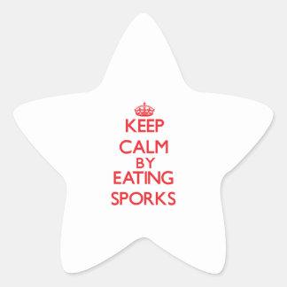 Keep calm by eating Sporks Star Sticker