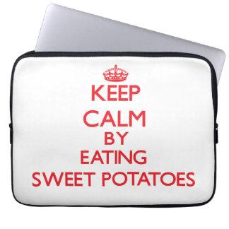 Keep calm by eating Sweet Potatoes Laptop Sleeve