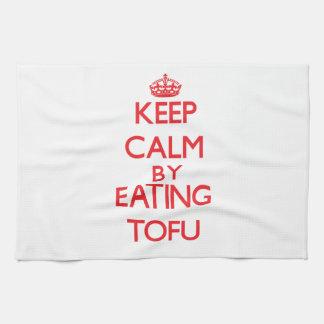 Keep calm by eating Tofu Kitchen Towel
