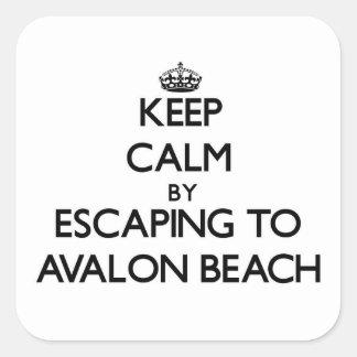 Keep calm by escaping to Avalon Beach California Square Sticker