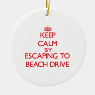 Keep calm by escaping to Beach Drive Florida Christmas Tree Ornament