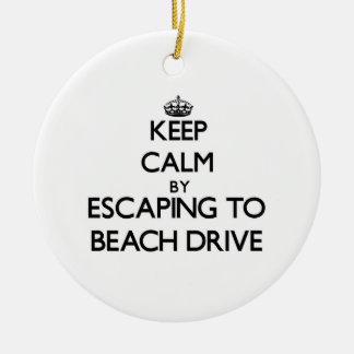 Keep calm by escaping to Beach Drive Florida Christmas Tree Ornaments