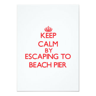Keep calm by escaping to Beach Pier New Jersey 5x7 Paper Invitation Card