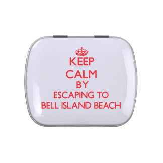 Keep calm by escaping to Bell Island Beach Connect Jelly Belly Tin