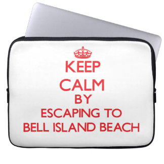 Keep calm by escaping to Bell Island Beach Connect Laptop Sleeves