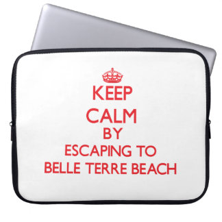 Keep calm by escaping to Belle Terre Beach New Yor Laptop Computer Sleeves