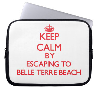 Keep calm by escaping to Belle Terre Beach New Yor Computer Sleeves