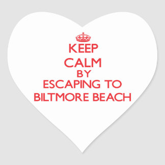 Keep calm by escaping to Biltmore Beach Florida Heart Stickers