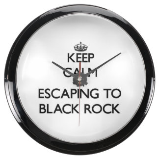 Keep calm by escaping to Black Rock Massachusetts Fish Tank Clock