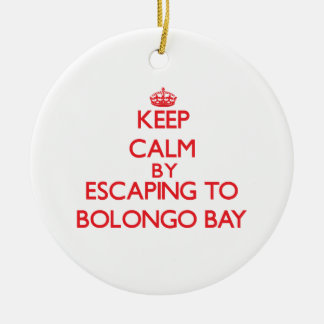 Keep calm by escaping to Bolongo Bay Virgin Island Double-Sided Ceramic Round Christmas Ornament