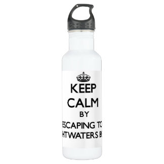 Keep calm by escaping to Brightwaters Beach New Yo 24oz Water Bottle