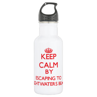 Keep calm by escaping to Brightwaters Beach New Yo 18oz Water Bottle