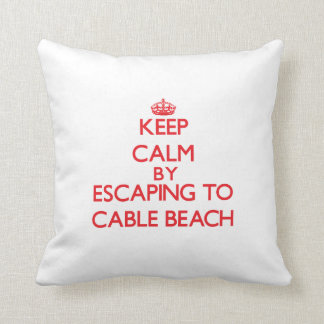 Keep calm by escaping to Cable Beach New Hampshire Throw Pillows