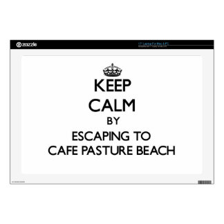 Keep calm by escaping to Cafe Pasture Beach Rhode Laptop Skin
