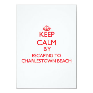 Keep calm by escaping to Charlestown Beach Rhode I 5x7 Paper Invitation Card