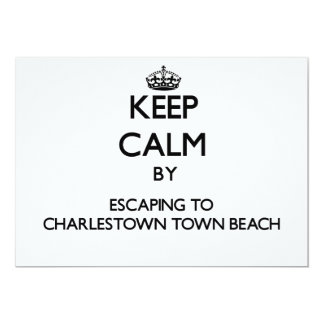 Keep calm by escaping to Charlestown Town Beach Rh 5x7 Paper Invitation Card