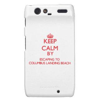Keep calm by escaping to Columbus Landing Beach Vi Droid RAZR Cover