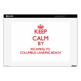 Keep calm by escaping to Columbus Landing Beach Vi Laptop Skin