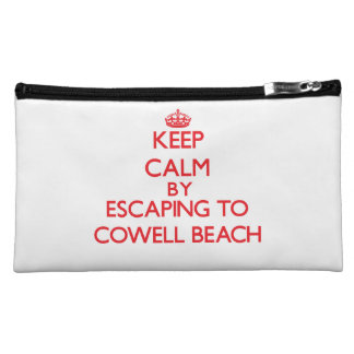 Keep calm by escaping to Cowell Beach California Makeup Bags