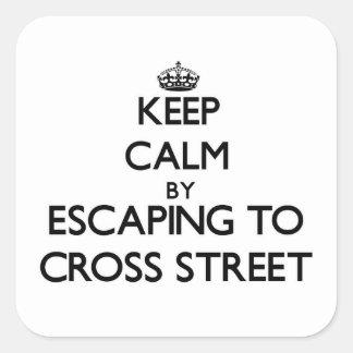 Keep calm by escaping to Cross Street Massachusett Square Sticker