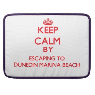 Keep calm by escaping to Dunedin Marina Beach Flor MacBook Pro Sleeve