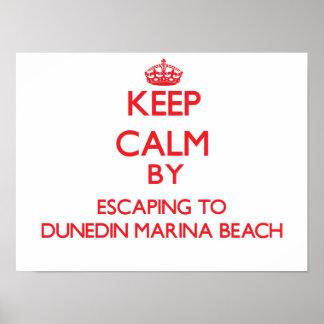 Keep calm by escaping to Dunedin Marina Beach Flor Print