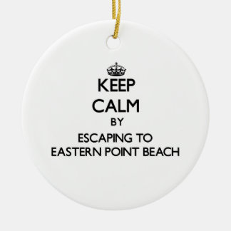 Keep calm by escaping to Eastern Point Beach Conne Double-Sided Ceramic Round Christmas Ornament