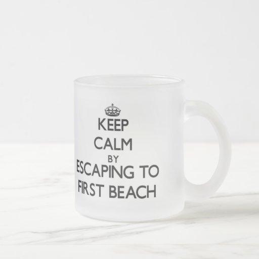 Keep calm by escaping to First Beach Guam Mug