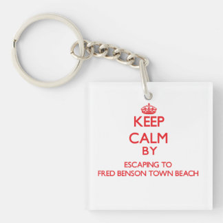 Keep calm by escaping to Fred Benson Town Beach Rh Double-Sided Square Acrylic Keychain