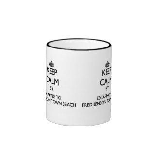 Keep calm by escaping to Fred Benson Town Beach Rh Ringer Coffee Mug