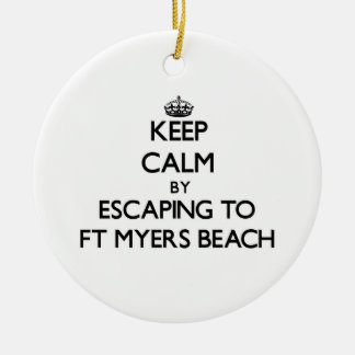 Keep calm by escaping to Ft Myers Beach Florida Ceramic Ornament