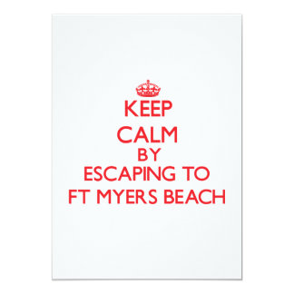 Keep calm by escaping to Ft Myers Beach Florida 5x7 Paper Invitation Card