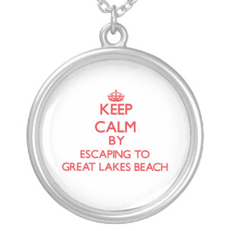 Keep calm by escaping to Great Lakes Beach Michiga Personalized Necklace