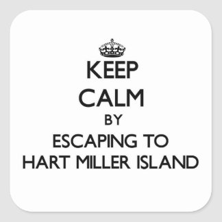Keep calm by escaping to Hart Miller Island Maryla Square Sticker