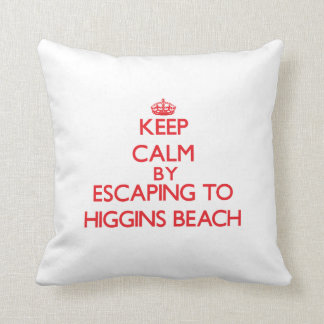 Keep calm by escaping to Higgins Beach Maine Throw Pillow