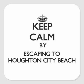 Keep calm by escaping to Houghton City Beach Michi Square Sticker