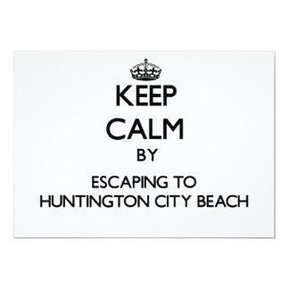 Keep calm by escaping to Huntington City Beach Cal Custom Announcements