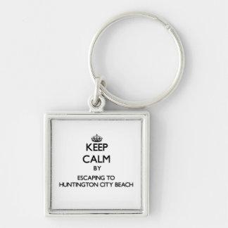 Keep calm by escaping to Huntington City Beach Cal Keychain