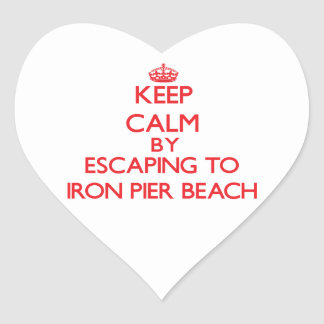 Keep calm by escaping to Iron Pier Beach New York Sticker