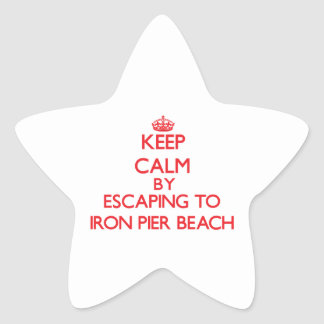 Keep calm by escaping to Iron Pier Beach New York Stickers