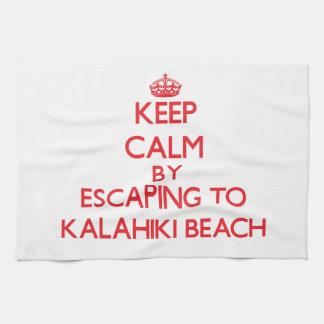 Keep calm by escaping to Kalahiki Beach Hawaii Towel