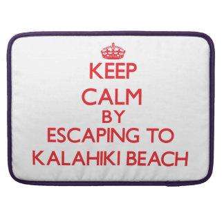 Keep calm by escaping to Kalahiki Beach Hawaii Sleeves For MacBook Pro